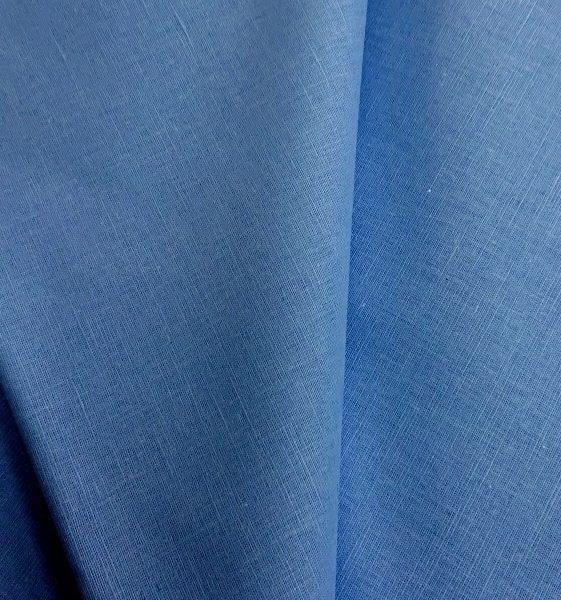 ткань лен голубой