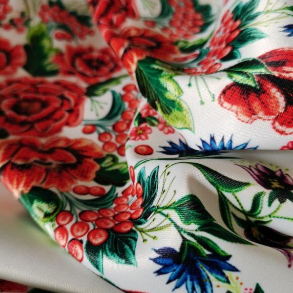 ткань с маковой вышивкой для рукавов
