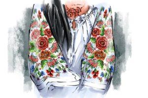 Платье с маками на рукавах