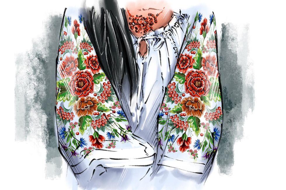 платье с вышивкой из маков