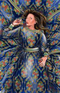 Идея платья с павлопосадскими узорами