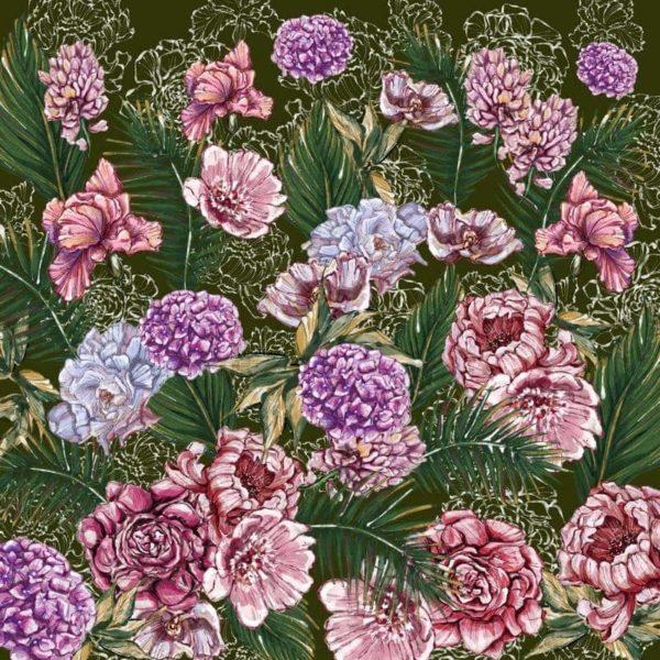 Ткань с акварельными цветами
