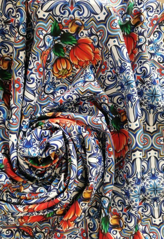 ткань гжельская майолика