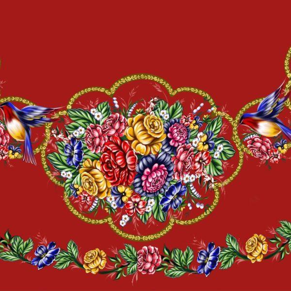 Ткань с жостовскйо росписью для юбки солнце