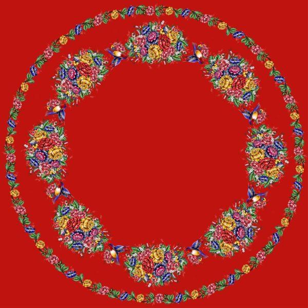 Ткань жостово на красном
