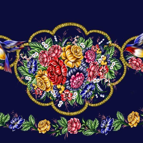 Ткань с жостовской росписью