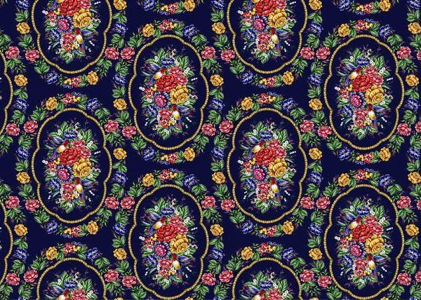Ткань жостовской росписью