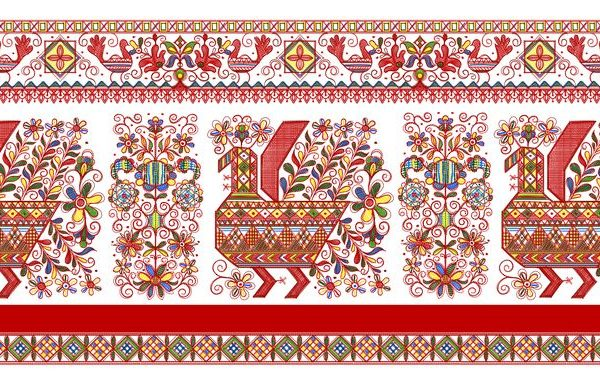Ткань с каргопольскими мотивами
