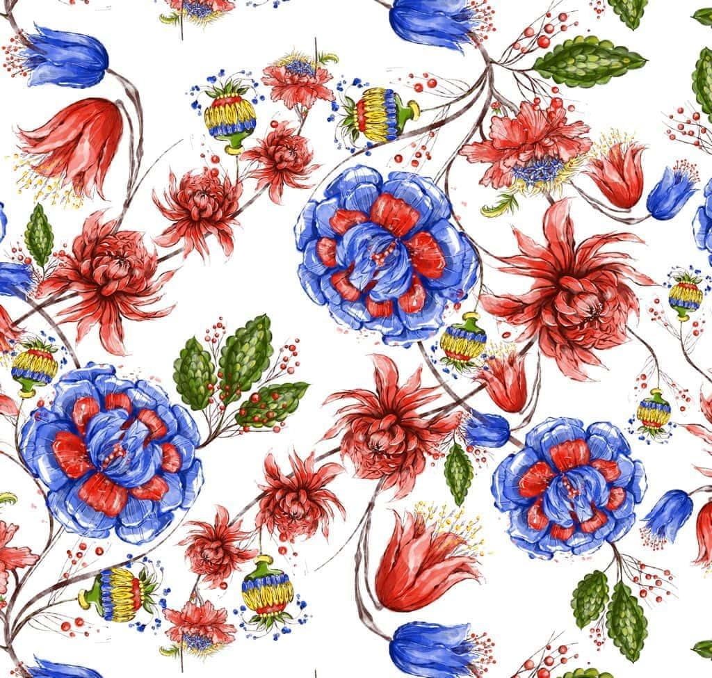 Ткань с русскими цветами
