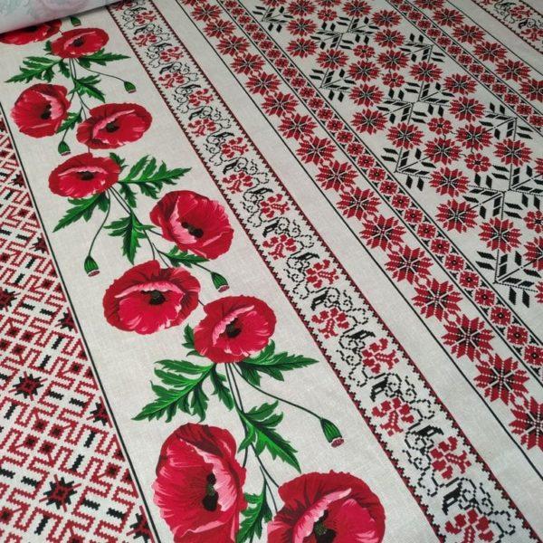 Ткань с маками вышиванка