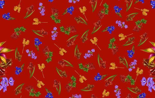 ткань с цветами и петушками на палочке