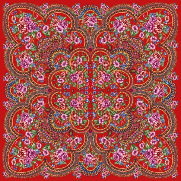 ткань с павлопосадскими узорами
