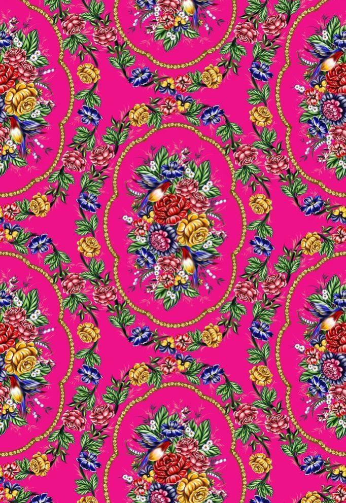 Ткань жостово на розовом