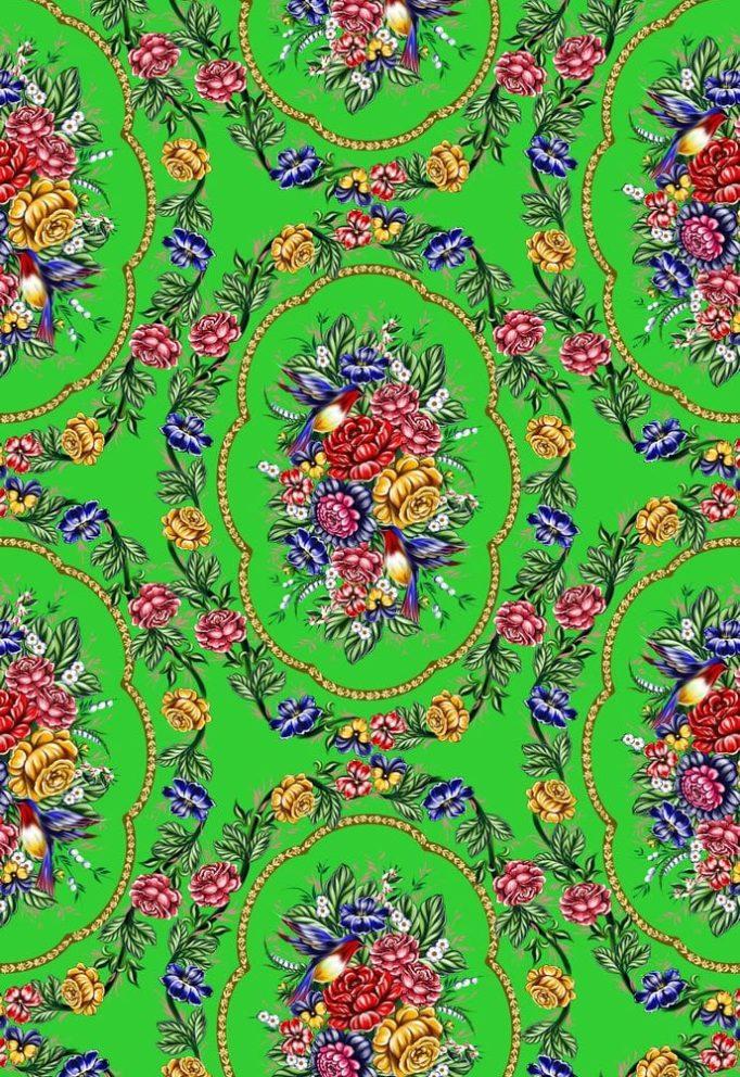 Ткань жостово на зеленом