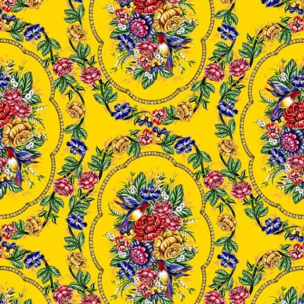 Ткань жостово на желтом