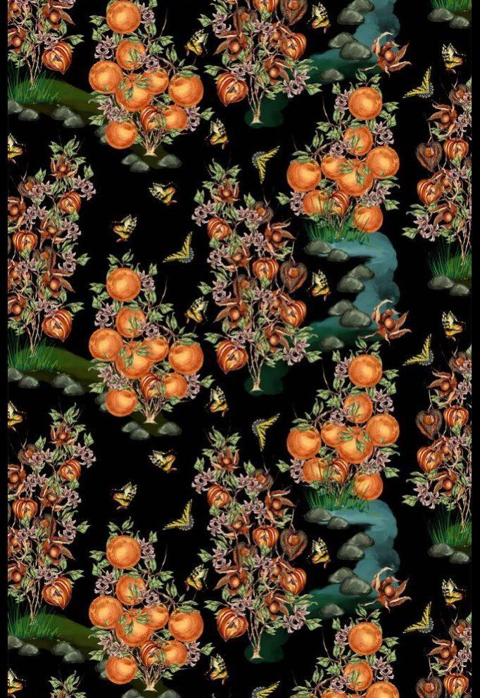Ткань с физалисами и апельсинами