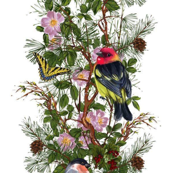 Ткань с шишками и птицами