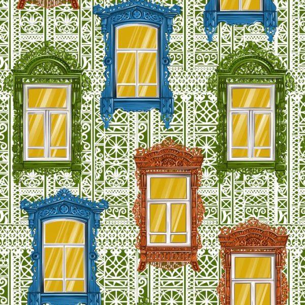 Ткань с окнами терема